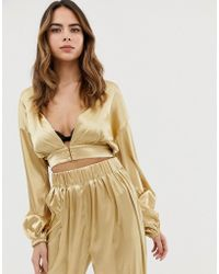 Lioness Plunge Front Wrap Top Co-ord In Gold - Metallic