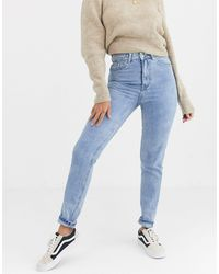 Vero Moda High Waist Mom Jeans Light Wash - Blue
