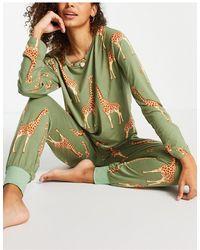 Chelsea Peers Зеленая Пижама С Принтом Жирафов -зеленый Цвет