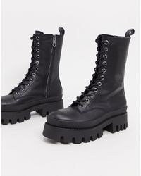 Bershka Lace Up Biker Boot With Sole Detail - Black