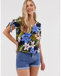 Vero Moda Tropical Linen Button Through Blouse-navy - Blue