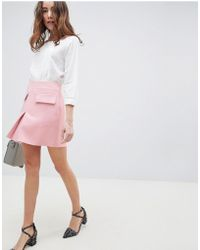 ASOS A Line Mini Skirt With Pocket Front Detail - Pink