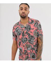Jacamo Revere Collar Shirt With Pink Tropical Print