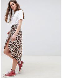ASOS - Design Leopard Print Wrap Midi Skirt - Lyst