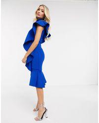 Lavish Alice Extreme Frill Peplum Hem Scuba Midi Dress - Blue