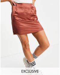 Missguided Атласная Мини-юбка Шоколадного Цвета От Комплекта -коричневый Цвет