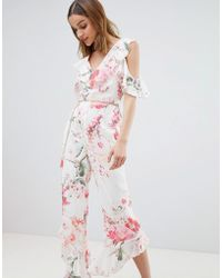 River Island - Floral Print Frill Front Jumpsuit - Lyst
