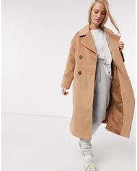 Y.A.S Wool Longline Coat With Tortoise Shell Buttons - Multicolour