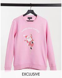 New Girl Order - Oversize-cвитшот С Новогодним Принтом Танцующего Санта-клауса -розовый - Lyst