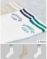Jack & Jones Набор Из 3 Пар Носков Белого И Коричневого Цвета С Логотипом Originals-разноцветный - Многоцветный