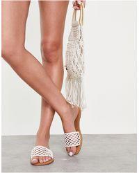 Miss Selfridge Wide Fit Ellie Sandals - White