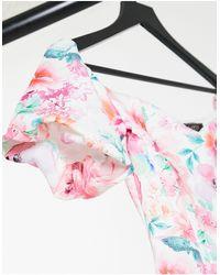 Lipsy Платье Миди С Открытыми Плечами И Цветочным Принтом -многоцветный