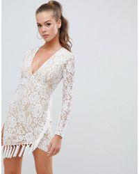 AX Paris Lace Dress With Tassle Detail - White