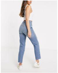 ASOS Hourglass – Effortless – Ausgestellte Stretch-Jeans mit hohem Bund, kurzem Schnitt und Zierriss - Blau
