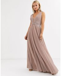 Forever Unique Pleated Plunge Maxi Dress - Pink