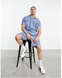 ASOS Denim Short Boilersuit - Blue