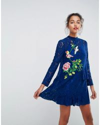 ASOS - Lace Mini Shift Dress With Embroidery - Lyst