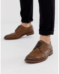 ASOS Brogue Shoes In Tan Faux Leather - Brown