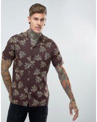 ASOS - Design Regular Fit Viscose Shirt With Leaf Print And Revere Collar - Lyst