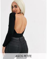 ASOS ASOS DESIGN Petite - Bodysuit a maniche lunghe aperto dietro - Nero