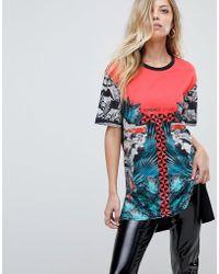 Versace Jeans - Longline Column Baroque Print Logo T-shirt - Lyst