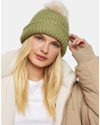 TOPSHOP - Bobble Hat With Faux Fur Pom Pom - Lyst