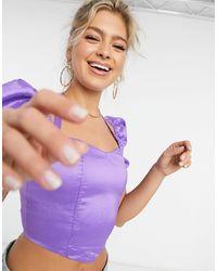 Naanaa Фиолетовый Кроп-топ С Пышными Рукавами - Пурпурный