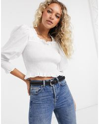 TOPSHOP Shirred Long Sleeve Top - White