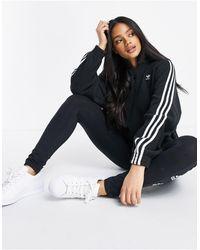 adidas Originals Adicolor Three Stripe Quarter Zip Fleece Sweatshirt - Black