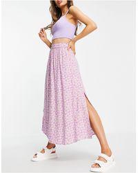 Y.A.S Сиреневая Юбка Макси С Разрезом Сбоку И Цветочным Принтом -многоцветный - Розовый