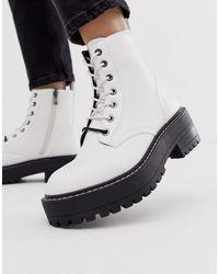 nuovo stile 27cb5 246e7 Stivali bianchi stringati con suola spessa - Bianco