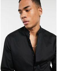 ASOS Slim-fit Overhemd Met Opstaande Kraag - Zwart