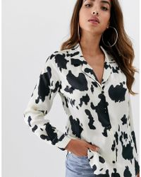 ASOS Relaxed Satin Long Sleeve Shirt In Cow Animal Print - Multicolor