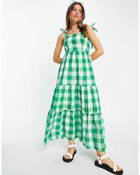 Stradivarius Bunny Strap Full Length Dress - Green