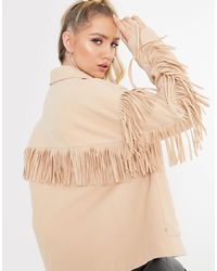 In The Style X Megan Mckenna - Giacca color cammello con frange - Neutro