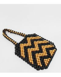South Beach Exclusive Large Wooden Beaded Shoulder Bag - Brown