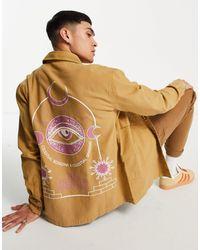ASOS - Бежевая Холщовая Рубашка Навыпуск С Космическим Принтом На Спине - Lyst
