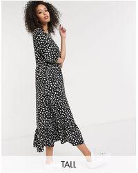 Missguided Черное Свободное Платье Миди С Оборкой По Нижнему Краю -черный Цвет