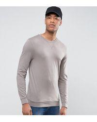 ASOS - Tall Muscle Sweatshirt In Stone - Lyst