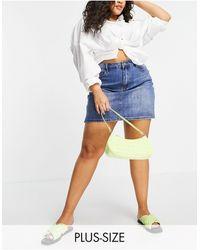 Simply Be Denim Mini Skirt - Blue
