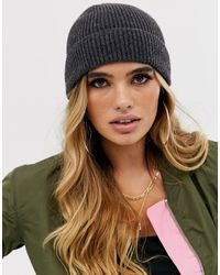 ASOS Fisherman Rib Beanie In Recycled Polyester - Gray