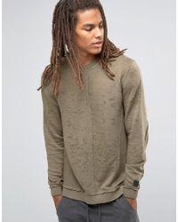 Black Kaviar - Longline Distressed Sweatshirt With Seam Detail - Lyst