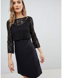 Zibi London 3/4 Sleeve Lace Shift Dress - Black