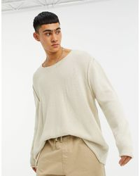 ASOS Knitted Oversized Textured Sweater - Natural