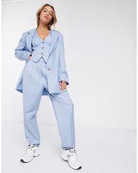 ASOS Extreme Dad 3 Piece Suit Trousers - Blue