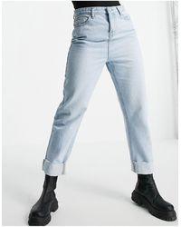 Urban Bliss Jeans dritti comodi lavaggio candeggiato con risvolti - Blu
