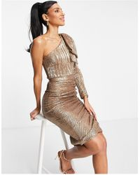 Lavish Alice Sequin Ruched Midi Pencil Dress With Oversized Bow Shoulder Detail - Metallic
