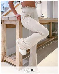 Missguided Pantaloni a zampa con fondo ondulato beige - Neutro