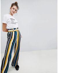 Bershka - Wide Leg Trouser With Tie Waist In Multi Stripe - Lyst