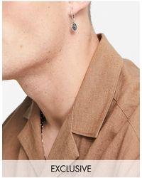 Reclaimed (vintage) Серебристые Серьги С Камнем Тигровый Глаз Inspired-серебристый - Металлик